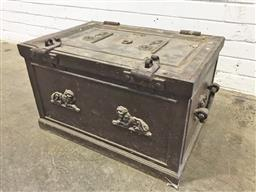 Sale 9126 - Lot 1220 - Victorian Cast Iron Travel Safe, marked Cannon, the hinged top (cracked/ broken) with applied resting lions & small protected key-ho...