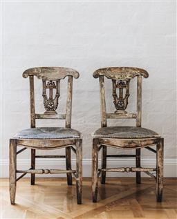 Sale 9135H - Lot 30 - A pair of early 19th Century Italian painted side chairs. 87cm Height