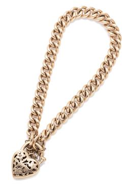 Sale 9209J - Lot 362 - A 9CT GOLD PADLOCK BRACELET; 6.8mm wide curb links to a pierced heart shape padlock clasp with safety chain, length 20cm, wt. 28.99g.