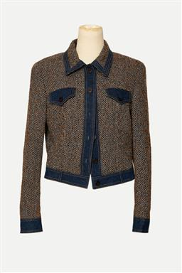 Sale 9095F - Lot 16 - An Escada tweed denim Jacket, with collar & two front pockets, size 8-10.