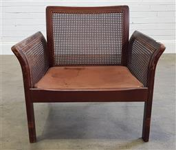 Sale 9174 - Lot 1145 - Vintage timber armchair with rattan sides (h:72 x w:76 x d:62cm)
