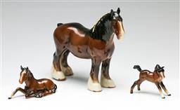 Sale 9209V - Lot 85 - A Beswick ceramic shire horse (W:23cm) together with two others (L:12cm)