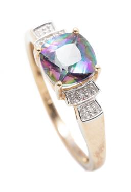 Sale 9253J - Lot 490 - A 9CT GOLD TOPAZ AND DIAMOND RING; set with a cushion cut mystic topaz to shoulders set with 2 single cut diamonds, width 7mm, size...