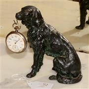 Sale 8107B - Lot 92 - Antique French bronze metal Pocket Watch Holder modelled as a seated dog holding a pocket watch