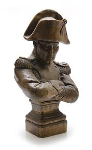 Sale 8202A - Lot 47 - A French Napoleon Bonaparte carved timber bust, H 30cm
