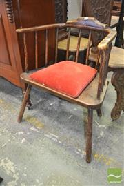 Sale 8282 - Lot 1075 - 19th Century Elm & Possibly Yew Windsor Armchair, with spindle back and wide timber seat