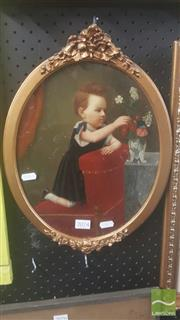 Sale 8446 - Lot 2074 - Early C20th School - Young Child Arranging Flowers 31 x 24cm