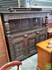 Sale 8485 - Lot 1024 - Gothic Style Oak Court Cupboard, with carved frieze, cup & cover supports, with three drawers & three tracery panel doors below (3 x...