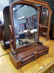 Sale 8559 - Lot 1019 - Victorian Mahogany Toilet Mirror, with shaped supports & two frieze drawers