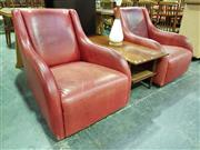 Sale 8661 - Lot 1036 - Pair of Red Leather Swivel Armchairs