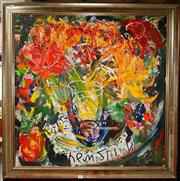 Sale 8678 - Lot 2045 - Artist Unknown - Vase of Flowers, oil painting, 78.5 x 78.5cm, signed lower centre -