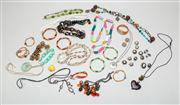 Sale 8740F - Lot 130 - A collection of assorted costume jewellery to include tonal bracelets, fun acrylic necklaces together with an Alessi watch with leat...