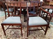 Sale 8792 - Lot 1064 - A set of eight Sheraton style carved mahogany dining chairs, including two armchairs, with vase shaped splat and ears of corn, with...