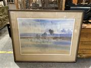 Sale 8990 - Lot 2066 - Brian Stratton Cloud Shadows, Greendale water colour, frame: 72  x 91 x 2 cm, signed lower right