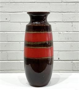 Sale 9117 - Lot 1095 - West German Vase with red band (h.41cm) -