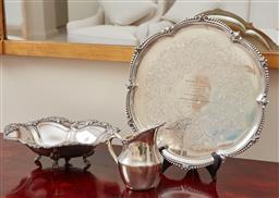 Sale 9099 - Lot 248 - A group of plated wares including a monogramed tray, Diameter 36cm, Strachan jug and Hecworth bowl