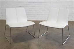 Sale 9171 - Lot 1044 - Pair of  Miles lounge Chair by Schamburg + Alvisse in white leather on chrome sled base (h:74 x w:60 x d:60cm)