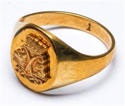Sale 9168 - Lot 449 - An early Australian rolled gold signet ring with boxing Kangaroo