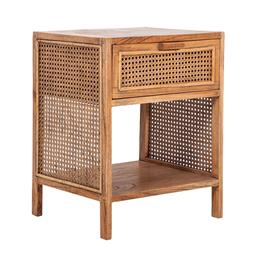 Sale 9250T - Lot 97 - A fruitwood side table with bird eye webbing in tobacco. Height 55cm x Width 45cm x Depth 35cm