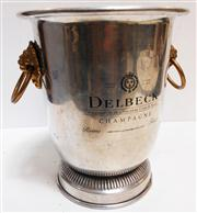 Sale 8272A - Lot 55 - Vintage French aluminium champagne bucket with bronze mounts Made for 'Delbeck' Size 25 cm tall