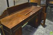Sale 8359 - Lot 1098 - A Willian IV Mahogany Twin Pedestal Sideboard with 4 cushion shape drawers and 2 arch panel doors (faults)