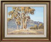 Sale 8411A - Lot 5075 - Allan Fizzell (1944 - ) - Untitled, 1976 (Gum Tree and Countryscape) 37.5 x 49.5cm