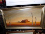 Sale 8422T - Lot 2095 - Josy Iles - Outback Shack 36.5 x 75cm