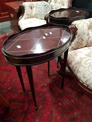 Sale 8676 - Lot 1046 - Pair of Ebonised Oval Side Tables