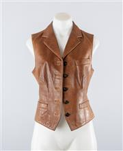 Sale 8760F - Lot 32 - A Ralph Lauren brown vest or gilet in soft, aged leather, size 8