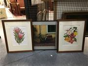 Sale 8776 - Lot 2032 - Group of Three Decorative Prints, Pair of Botanical and a European Scene