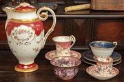 Sale 8976H - Lot 14 - A Royal Worcester cup set signed J Stanley, Royal Crown Derby and Minton porcelain, the latter with faults, tallest 23cm