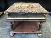 Sale 9048 - Lot 1092 - Victorian Mahogany Tapestry Top Stool, with cushion shaped floral tapestry top, raised on later turned legs with shelf & on brass cl...