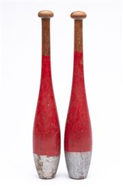 Sale 9070H - Lot 126 - Pair of vintage timber juggling pins, height 34cm