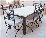 Sale 9081H - Lot 1 - A Carrara marble top outdoor table on black painted timber base, Height 75cm x Length 183cm x Width 103cm together with a set of pow...