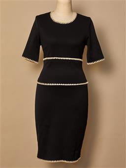 Sale 9093F - Lot 88 - A Thakoon long black fitted cotton dress with beige trim, size small