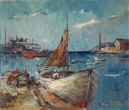 Sale 9125 - Lot 582 - Evan Wulff (1911 - ?) Blue Harbour oil on canvas 59 x 69 cm (frame: 80 x 90 x 3 cm) signed lower right