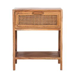 Sale 9250T - Lot 98 - A fruitwood side table with bird eye webbing in tobacco. Height 55cm x Width 45cm x Depth 35cm