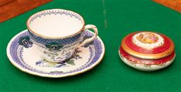 Sale 9260M - Lot 38 - A Limoges lidded ceramic box (Dia 9cm) together with a Royal Crown Derby cup and saucer