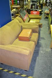 Sale 8013 - Lot 1094 - Brown Upholstered Two Seater & 3 Seater Lounges