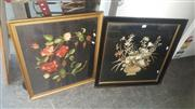 Sale 8433 - Lot 2056 - 2 Framed Highly Decorative Silk Embroideries of Flowers