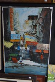 Sale 8503 - Lot 2049 - Tom Wong - City Scene 88.5 x 58.5cm