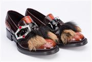 Sale 8640F - Lot 2 - A pair of Prada loafers with fur tassels and crystal encrusted shoe buckles, size 37.