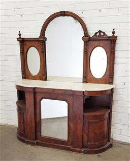 Sale 9102 - Lot 1196 - Victorian Burr Walnut Credenza, with arched top centre mirror & white marble top, above a mirror panel door flanked by shelves & bow...
