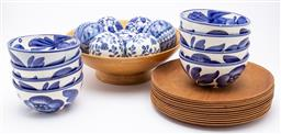 Sale 9099 - Lot 196 - Collection of blue and white ceramic bowls and balls  together with sundry timber plates.