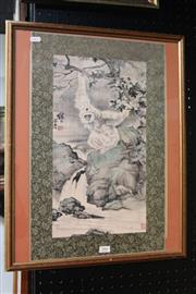 Sale 8362 - Lot 291 - Framed Chinese Painting of Monkeys, signed, H58cm x W46cm