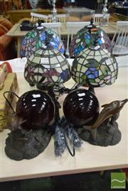 Sale 8532 - Lot 1350 - Six Leadlight Shade Table Lamps