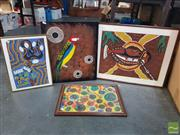 Sale 8548 - Lot 2101 - 3 Framed Aboriginal Works on Paper with One Work on Board (4)