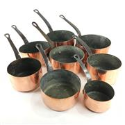 Sale 8760D - Lot 100 - Assortment of 8 French Copper Saucepans D: 16cm (largest)