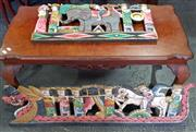 Sale 8951 - Lot 1023 - Pair of Native Timber Painted Carvings (Largest - H: 28 x W: 100cm)