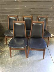 Sale 8967 - Lot 1048 - Set of Five Teak Chiswell High Back Dining Chairs with Upholstered Backs and Seats (H:86 x W:44cm)